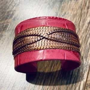 Pink Croco Leather Cuff Bracelet